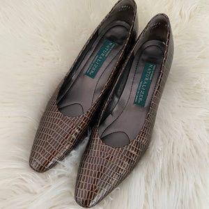 NATURALIZER Brown Crocodile Leather Block Heels